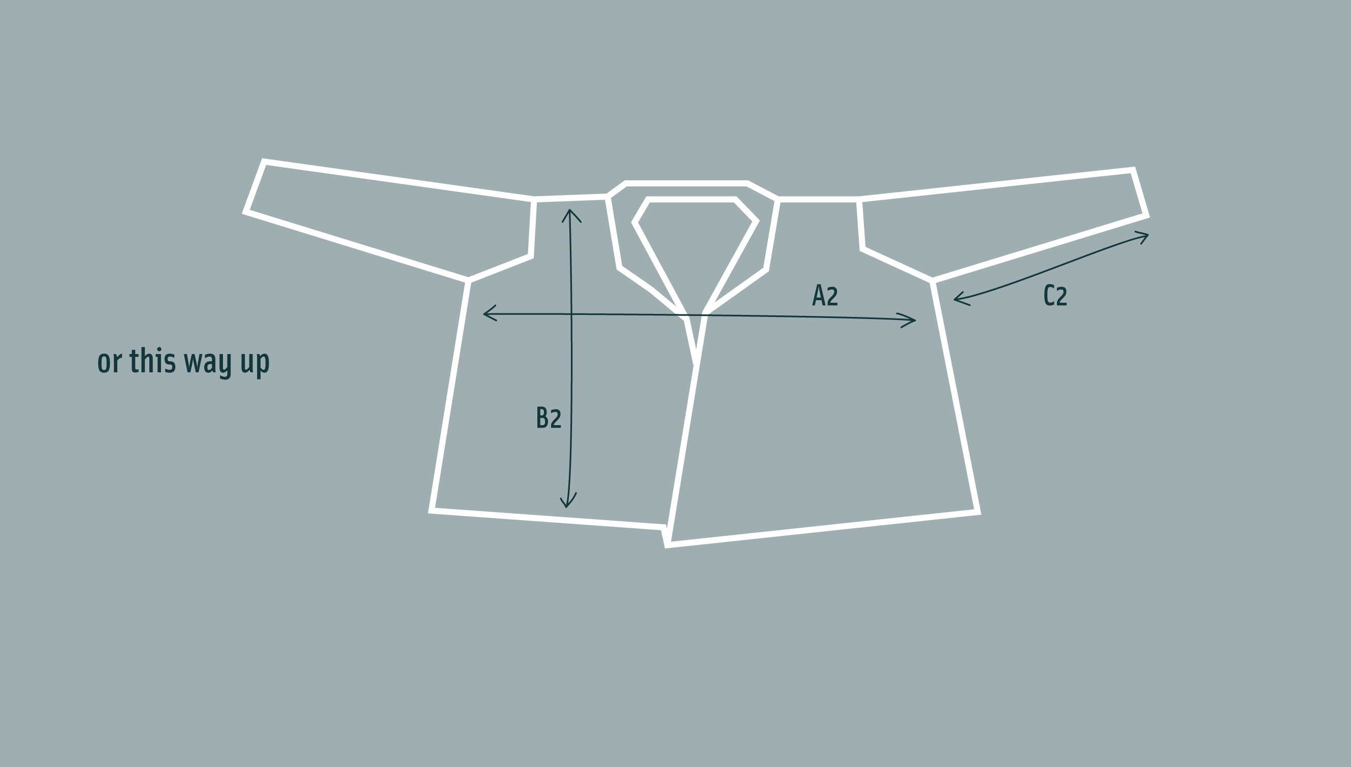 Diagram of long vaarie jacket laid flat, to show shape if worn upside down - to give a slouchier style