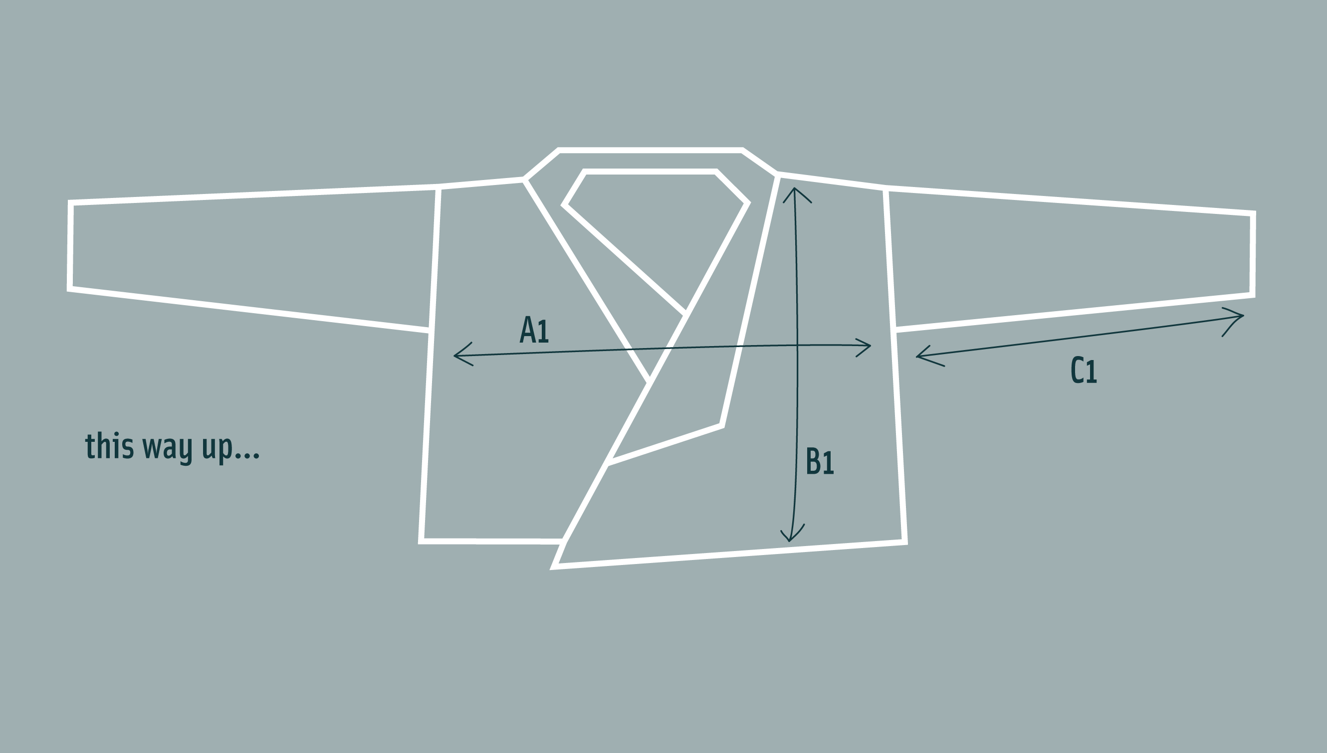 Rigg Shetland cardigan worn the shorter way - diagram to show dimensions and shape