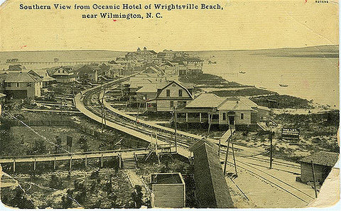 Southern view from Oceanic Hotel of Wrightsville Beach with Trolley Tracks
