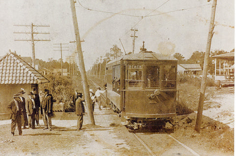 Photo of Passengers Boarding a Trolley bound for Wrightsville Beach
