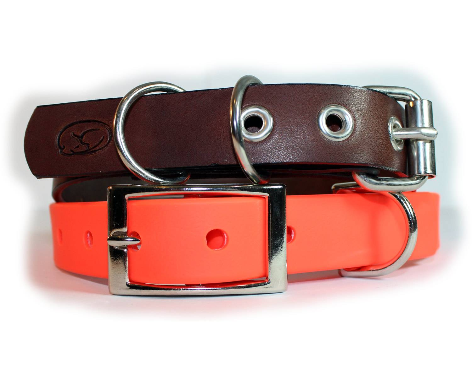 Photo of a leather collar and a waterproof collar