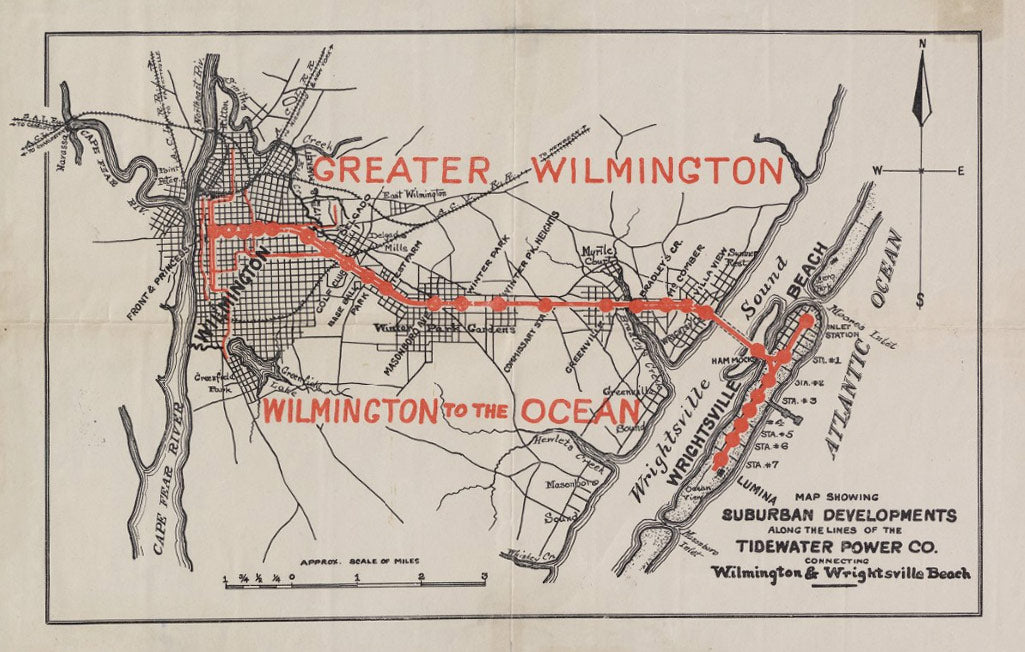 Map of the Wilmington to the Ocean Trolley