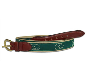 Embroidered Belt - Green on Khaki by sleepy pup