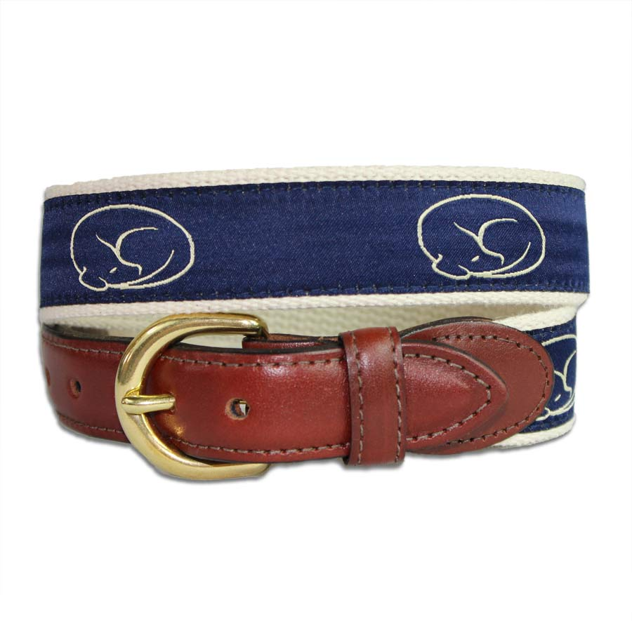 Embroidered Belt - Navy on Natural by sleepy pup