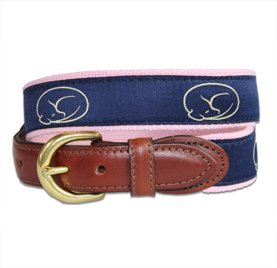 Embroidered Belt - Navy on Pink by sleepy pup