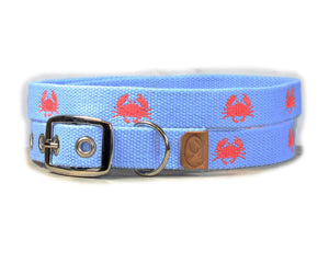 Embroidered Crabs Dog Collar