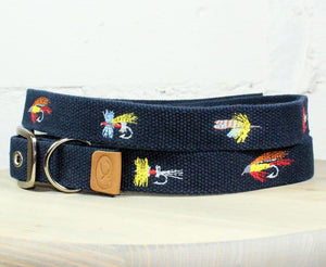 Fly Fishing Lures Embroidered Dog Collar