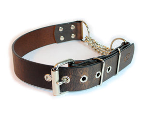 "Big Dog Adjustable 1.5"" Leather Martingale Chain Dog Collar"
