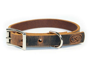 "Small Dog 3/4"" Full Grain Leather Dog Collar"