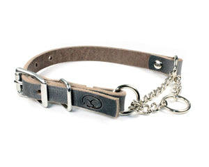 "3/4"" Small Dog Adjustable Leather Martingale Chain Dog Collar"