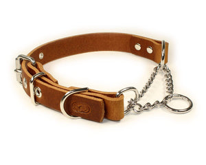 Adjustable Leather Martingale Chain Dog Collar