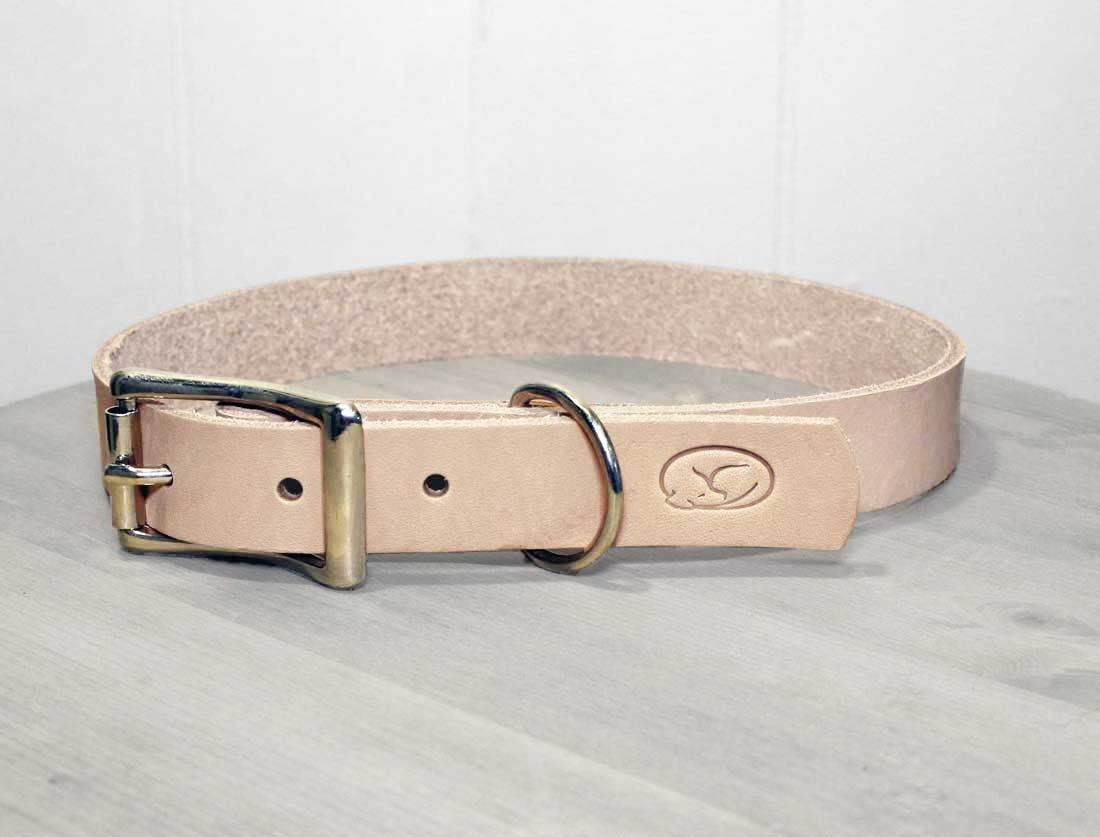 Natural Thick Leather Dog Collar