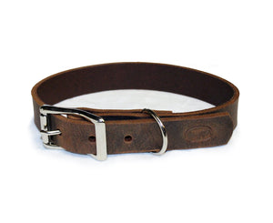 Dark Brown Thick Leather Dog Collar