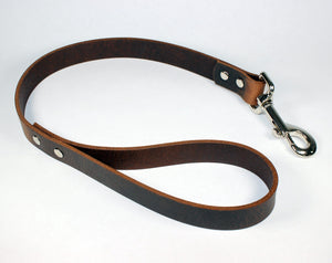 2' Thick Leather Traffic & Control Dog Leash-Dark Brown