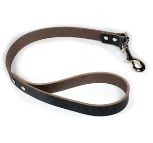 2' Thick Leather Traffic & Control Dog Leash-Grey