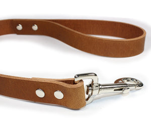 2' Thick Leather Traffic & Control Dog Leash-Light Brown