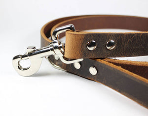 Dark Brown Thick Leather Dog Leash