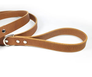 Light Brown Thick Leather Dog Leash