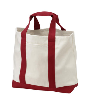Red Two-Tone Boat Tote by sleepy pup