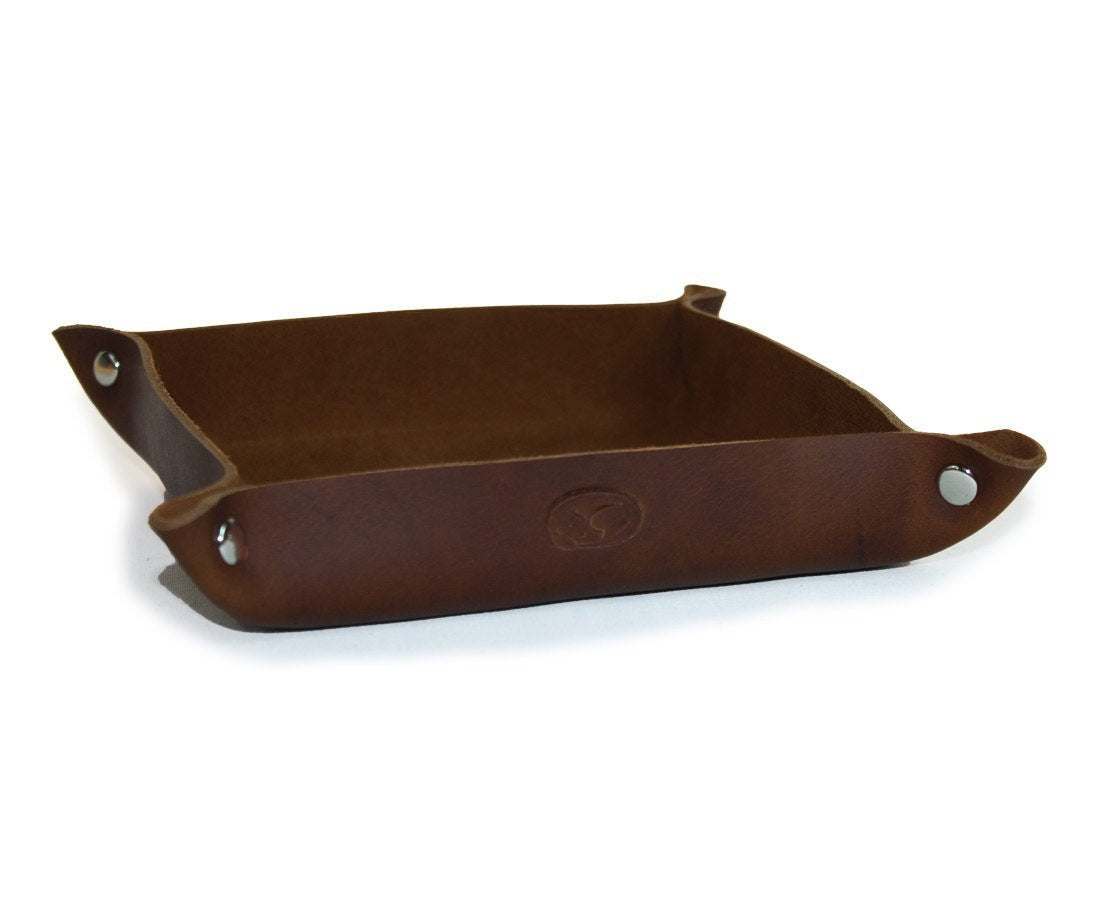 Saddle Brown Leather Valet Tray