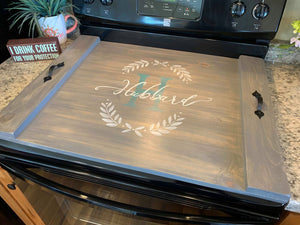 stove cover, noodle board, handpainted stove cover, wood stove cover, handmade stove cover, wood signs, wood trays.