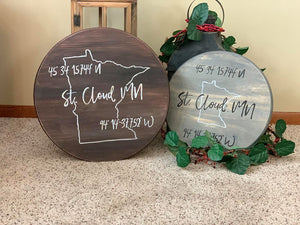 longitute and latitude, wood signs, round wood signs, longitude and latitude signs, handpainted sign, handpainted signs.