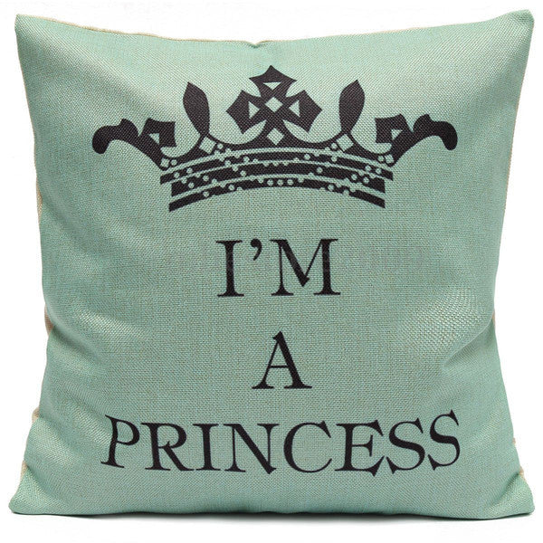 Pillow or pillowcase { I'm a princess } 17 x 17. Burlap. Crown. Zipper closure. Personalize with a name! - Stacy's Pink Martini Boutique