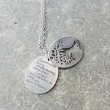 Necklace {Serenity Prayer} God grant me the serenity to accept the things I cannot change and the courage to change the things I can and wisdom to know the difference} Tree of life.Silver - Stacy's Pink Martini Boutique