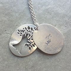 Necklace {Serenity Prayer} God grant me the serenity to accept the things I cannot change and the courage to change the things I can and wisdom to know the difference} Tree of life.Silver