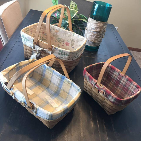 Longaberger Baskets. 1- Medium market. 1- Pantry/Small gatherings. 1-Spring basket. - Stacy's Pink Martini Boutique