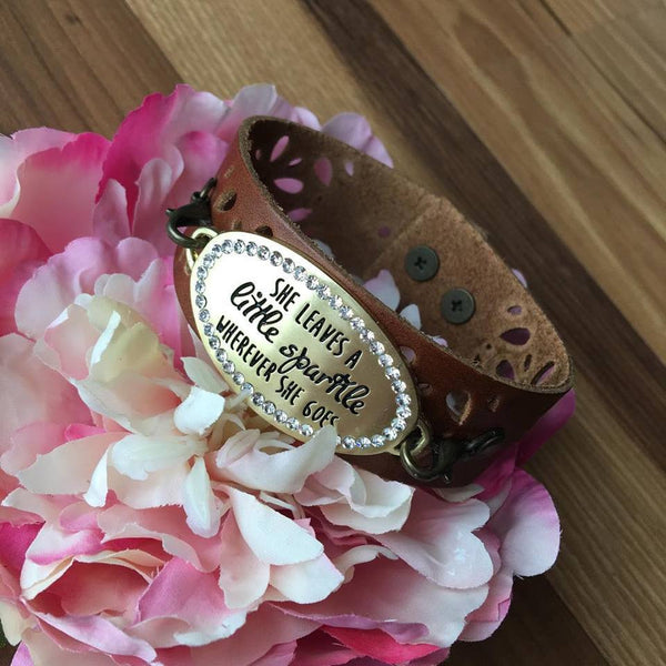 Amazing! Bracelet { She leaves a little sparkle wherever she goes } Choose color of leather band. - Stacy's Pink Martini Boutique