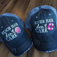 Hats {Lake hair don't care} {Happy Camper} {River hair don't care} {Beach hair don't care} {Tailgate hair don't care }