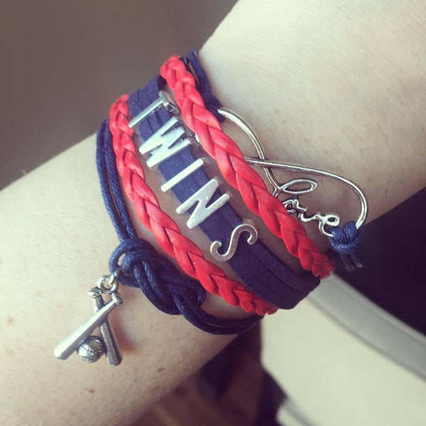 Bracelets { Twins } All teams available! Mn. Minnesota. Red, blue, silver. Adjustable. Unisex. Charm with baseball and baseball bat. - Stacy's Pink Martini Boutique