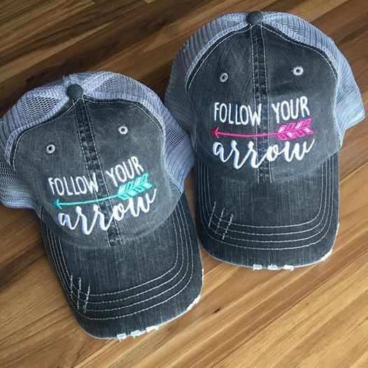 Follow your arrow HATS Embroidered distressed gray trucker caps Unisex Pink or teal arrow - Stacy's Pink Martini Boutique