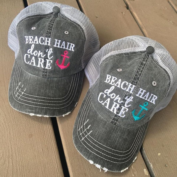 Hats and tanks { BEACH } Beach hair dont care, feelin beachy, beach please, hola beaches, beach bum, beachaholic. Embroidered trucker caps. - Stacy's Pink Martini Boutique