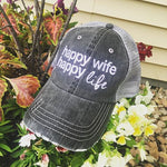Hat {Happy wife happy life} {Trophy wife} Assorted colors and styles. - Stacy's Pink Martini Boutique