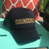 #momlife hats || Blingy glitter vinyl letters || Womens trucker hats || Adjustable snapback || Mom hats || Black or black and white - Stacy's Pink Martini Boutique