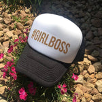 Hats { #Girlboss } Black & white, black, maroon or navy blue. - Stacy's Pink Martini Boutique