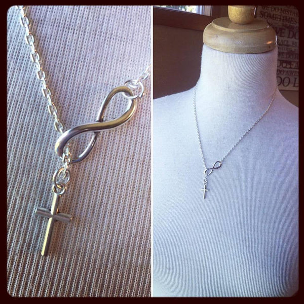 Necklace { Cross. Infinity } Silver