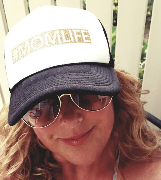 #momlife hats || Blingy glitter vinyl letters || Womens trucker hats || Adjustable snapback || Mom hats || Black or black and white - Stacy's