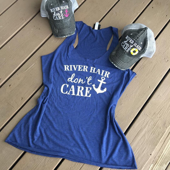 Hat OR Tank {RIVER hair don't care} Hats with pink or blue anchor. Tanks in coral, black, blue and teal.