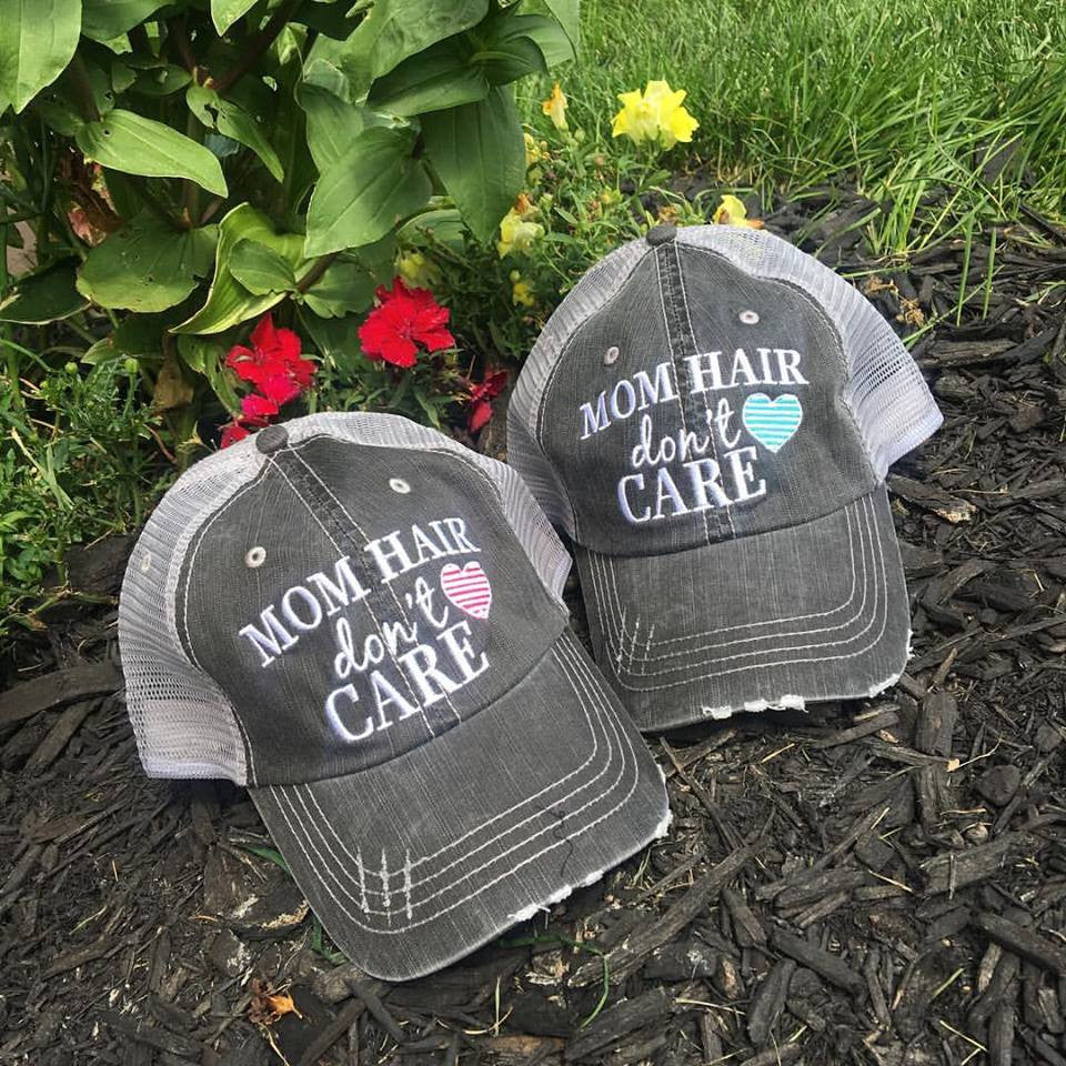 Hats { Mom hair don't care } Pink or teal heart. - Stacy's Pink Martini Boutique