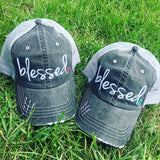 Blessed Hats •• Pink or teal cross • Embroidered, distressed, woman's trucker cap - Stacy's Pink Martini Boutique