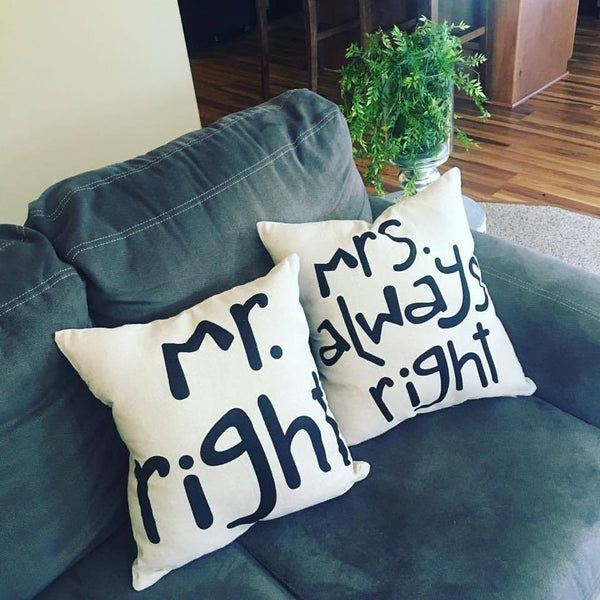 Pillows and pillow cases { Mr. Right } { Mrs. Always Right } Brown cotton/linen burlap with black letters. Zipper closure. 18 x 18. Great wedding or shower gift! - Stacy's Pink Martini Boutique