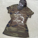 Tshirts, tank, long sleeve and hats {Love me like you love fishing} Camoflauge greens. Fish. - Stacy's Pink Martini Boutique