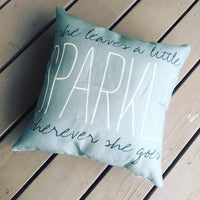She leaves a little sparkle wherever she goes | Pillow/Pillowcase | Gray | 17 x 17 - Stacy's Pink Martini Boutique