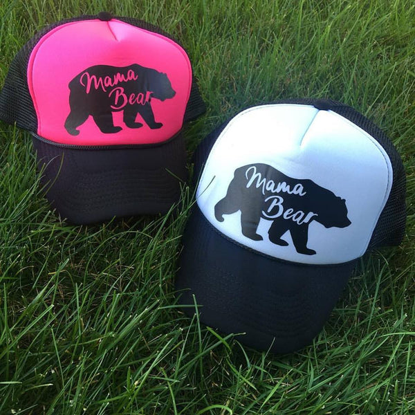 Hats, shirts and necklaces { Mama bear } {Mama bear hair don't care } { Mommin' Ain't Easy }