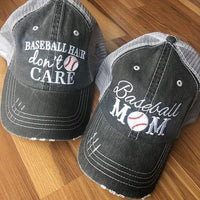 Hats and jewelry { Baseball hair don't care } { Baseball mom } Hey Chicago whaddya say. Softball mom. Softball hair dont care.