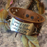 Bracelet {What if I fall? Oh, but my darling....what if you fly?} Click here to see other sayings and designs! https://stacyspinkmartiniboutique.com/products/bracelets-cuffs-1 - Stacy's Pink Martini Boutique