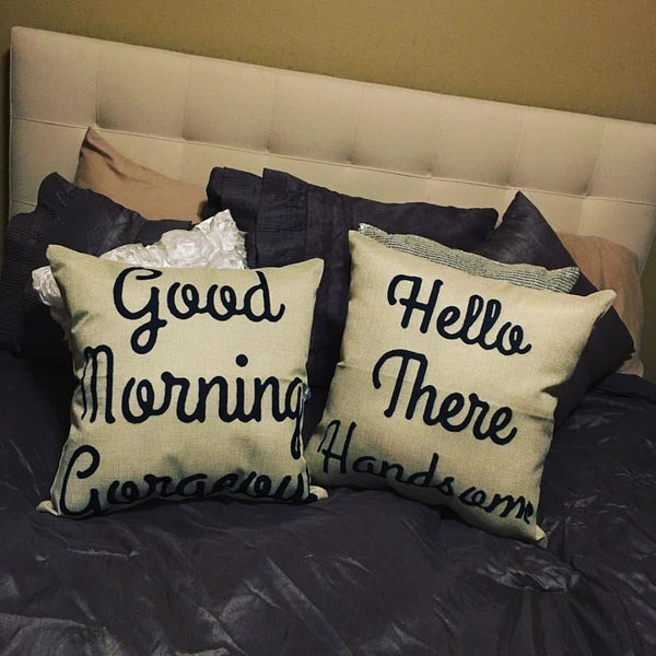 Pillow Set { Good morning gorgeous. Hello there handsome } Burlap. Great gift for a wedding, shower or yourself! - Stacy's Pink Martini Boutique